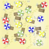 Illustration of beach from above with parasols Royalty Free Stock Photography