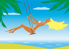 Illustration of the beach girl Stock Images