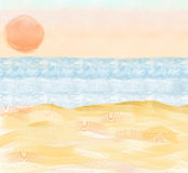 Illustration of beach with sand and ocean Stock Photography