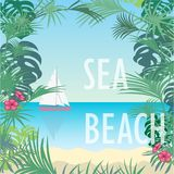 Vector illustration of a tropical beach, sea and sailboat royalty free illustration