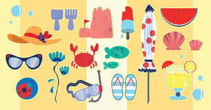 Illustration Of Beach And Vacation Icons Stock Photo