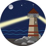An illustration of a beacon at night. vector illustration