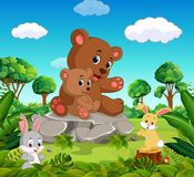 Bear and baby bear in the forest. Illustration of Bear and baby bear in the forest Stock Photos
