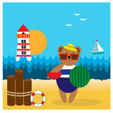 Illustration with bear on the beach Royalty Free Stock Photography