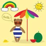 Illustration with bear on the beach Royalty Free Stock Photos