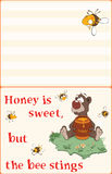 Illustration of a Bear and Bees. Postcard. Proverb. Illustration of a Bear and Bees. Postcard Royalty Free Stock Photography