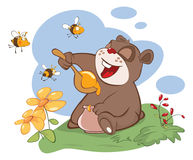 Illustration. Bear and the Bees Story Royalty Free Stock Images
