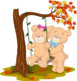 Bear couple in love sitting on a swing. Illustration of bear couple in love sitting on a swing under a tree on autumn vector illustration
