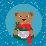 Illustration with bear with cup of tea Stock Images