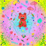 Illustration with bear and hearts. Stock Images