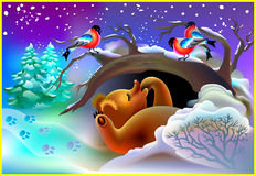 Illustration of bear sleeping in a cave during winter. Royalty Free Stock Photo
