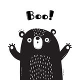 Illustration with bear who shouts - Boo. For design of funny avatars, welcome posters and cards. Cute animal. Illustration with bear who shouts - Boo. For Stock Photos