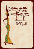 Illustration with beautiful African woman Stock Photo