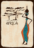 Illustration with beautiful African woman Stock Photos