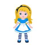 Illustration of Beautiful Alice from Wonderland. Vector illustration isolated on white background Stock Photo