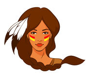 Illustration of a beautiful American Indian woman Stock Photos