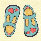Illustration of beautiful baby girl shoes Royalty Free Stock Images
