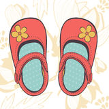 Illustration of beautiful baby girl shoes Royalty Free Stock Photo