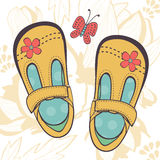 Illustration of beautiful baby girl shoes Royalty Free Stock Photos