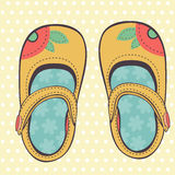 Illustration of beautiful baby girl shoes Stock Photography