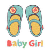 Illustration of beautiful baby girl shoes Stock Photos