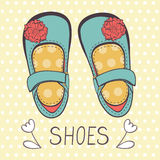 Illustration of beautiful baby girl shoes Stock Images