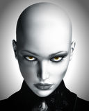 Illustration of Beautiful Bald Futuristic Woman. A black and white digital illustration of a beautiful, bald, futuristic woman staring into camera Royalty Free Stock Photography