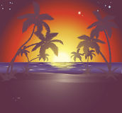 Illustration of a beautiful beach scene at sunset Royalty Free Stock Photo
