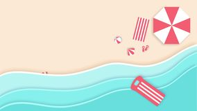 Illustration of a beautiful beach in summer with copy space, 2D and 3D animated, 4K video