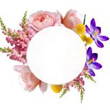 Illustration of a Beautiful Boho Flowers in Banner with Copy Space. Flower Wreath with roses, Crocus and other plants vector illustration