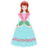 Illustration of beautiful brunette princess in ancient dress with flowers Stock Photo