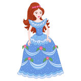 Illustration of beautiful brunette princess in shine blue dress with spangles Royalty Free Stock Photos