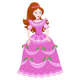 Illustration of beautiful brunette princess in shine lilac or pink dress with spangles Stock Photos