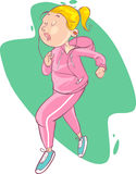 Illustration of a beautiful cartoon girl jogging Stock Images