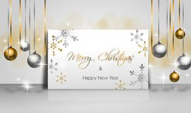 Christmas background with golden and silver christmas bulbs Stock Photography