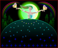 Illustration of beautiful fairy dancing in the nighttime with butterflies. Stock Photos