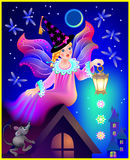 Illustration of beautiful fairy dreaming in the nighttime. Stock Photography