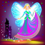 Illustration of beautiful fairy dreaming in the nighttime. Royalty Free Stock Photography