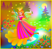 Illustration of beautiful fairy floating down the river in the magic forest. Royalty Free Stock Photos