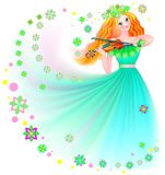 Illustration of beautiful fairy playing the violin. Royalty Free Stock Image