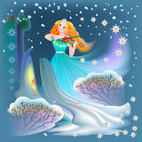 Illustration of beautiful fairy playing the violin in winter. Royalty Free Stock Photos