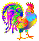 Illustration of beautiful fantasy cock on white background. Vector cartoon image. Scale to any size without loss of resolution Stock Images
