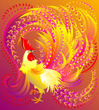 Illustration of beautiful fantasy fairyland rooster. Stock Photos