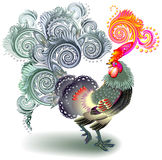 Illustration of beautiful fantasy rooster on white background. Stock Photos