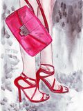 Illustration of beautiful female legs in pink shoes and a pink purse in her hand Stock Photos