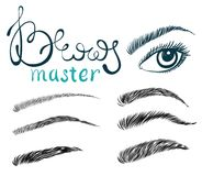 Illustration of beautiful female long eyelashes and brows. Trendy makeup with lettering, Concept for beauty salon, cosmetics label, visage or makeup studio Stock Image