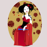 Illustration of a beautiful geisha in red dress. very gentle and passionate. Royalty Free Stock Photo