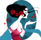 Illustration of a beautiful geisha in red dress. very gentle and passionate. Stock Image