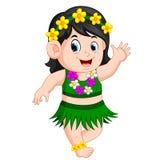 A beautiful girl in Hawaiian clothes dances Hula Stock Image