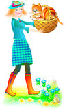 Illustration of beautiful girl  holding a basket with little kitten. Royalty Free Stock Photos